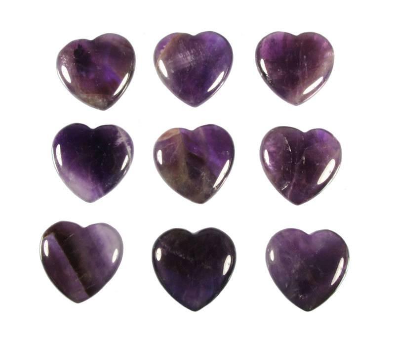 Amethist (donker) edelsteen hart 3 cm