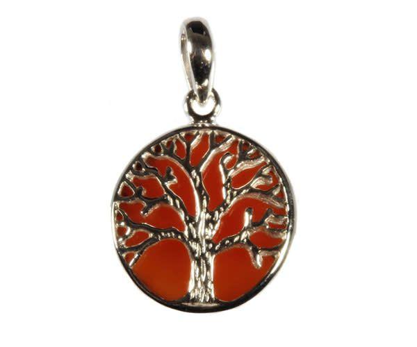 Zilveren hanger carneool levensboom