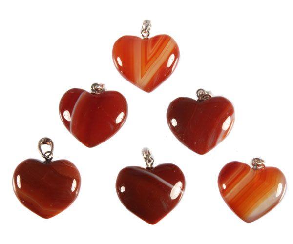 Zilveren hanger carneool hart 2 cm