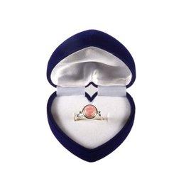 Sieradendoosje voor ringen blauw fluweel hart
