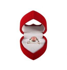 Sieradendoosje voor ringen rood fluweel hart