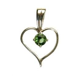 Zilveren hanger gaia steen hart