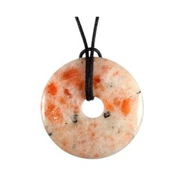 Zonnesteen hanger donut 4 cm