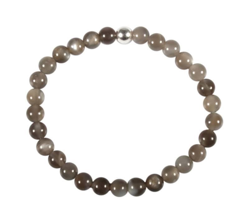 Maansteen (grijs) armband 18 cm   6 mm kralen