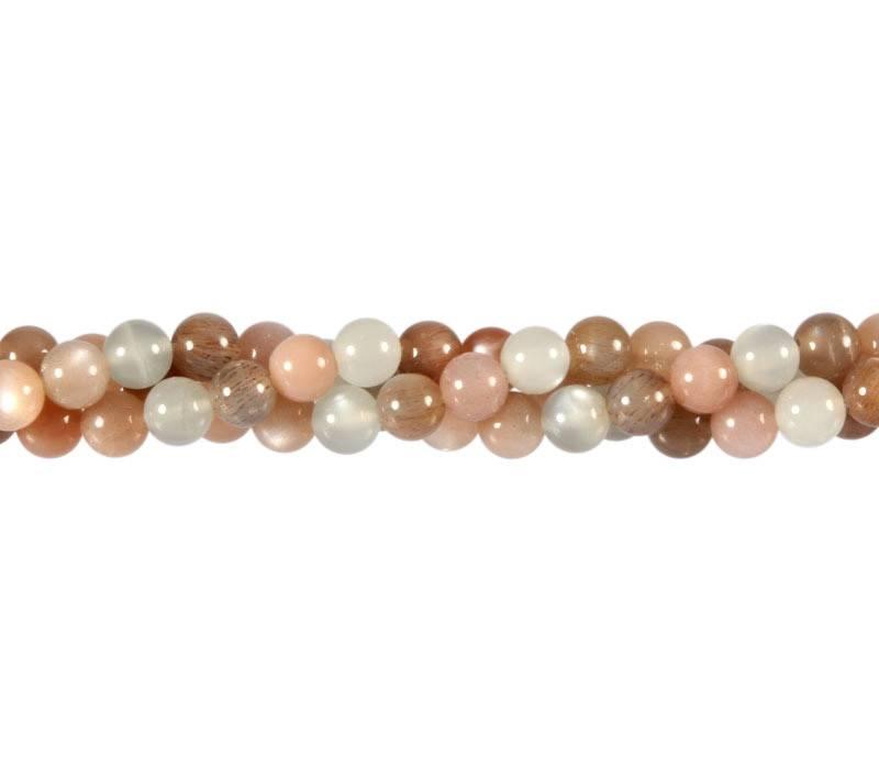 Maansteen (multicolour) kralen rond 6 mm (streng van 40 cm)