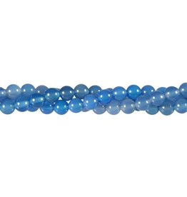 Agaat (blauw gekleurd) kralen rond 6 mm (streng van 40 cm)
