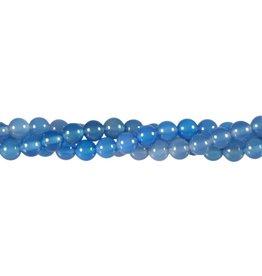Agaat (blauw) kralen rond 6 mm (streng van 40 cm)