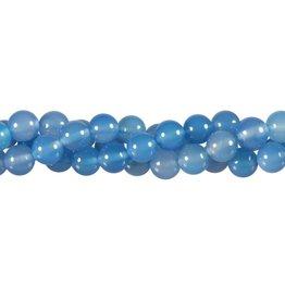 Agaat (blauw) kralen rond 8 mm (streng van 40 cm)