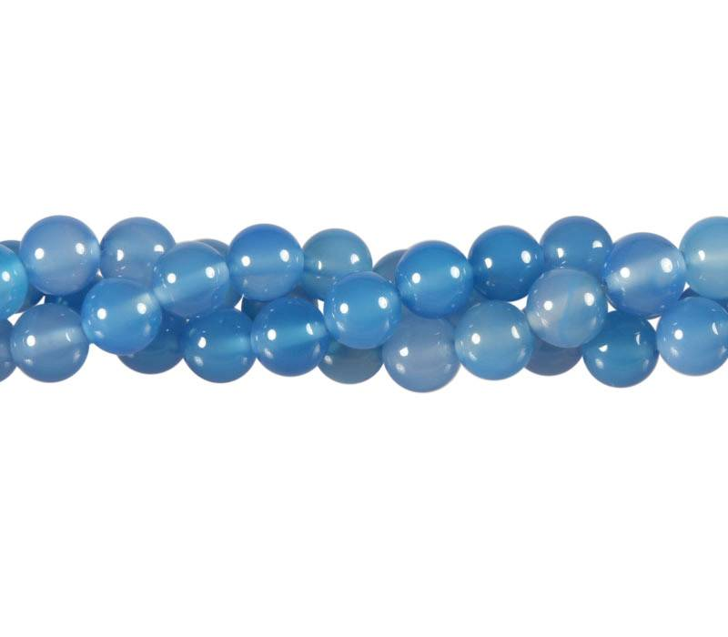 Agaat (blauw gekleurd) kralen rond 8 mm (streng van 40 cm)