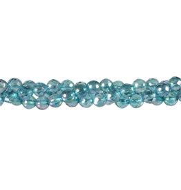 Aqua aura kralen rond facet 6 mm (streng van 40 cm)