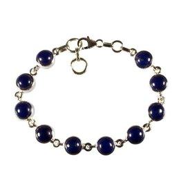 Zilveren armband lapis lazuli | rond 10 stenen