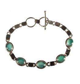 Zilveren armband onyx (groen) 5 ovale stenen