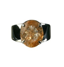 Zilveren ring zonnesteen maat 17 1/4 | ovaal facet gezet