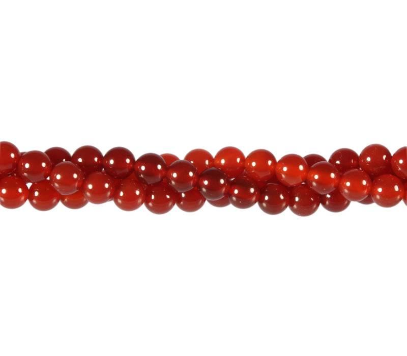 Carneool kralen (verhit) rond 6 mm (streng van 40 cm)