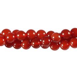 Carneool kralen (verhit) rond 8 mm (streng van 40 cm)
