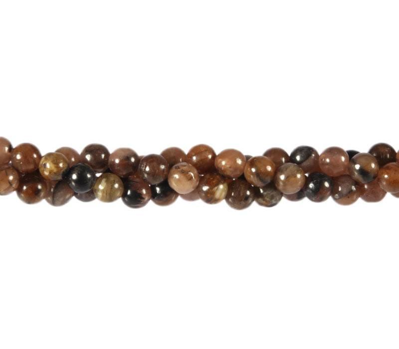 Chiastoliet of kruissteen kralen rond 6 mm (streng van 40 cm)