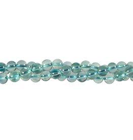 Fluoriet (blauw) kralen rond 6 mm (streng van 40 cm)