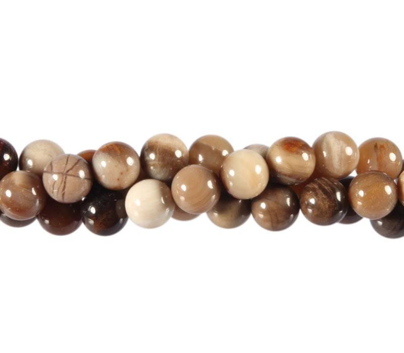 Geopaliseerd hout kralen rond 8 mm (streng van 40 cm)