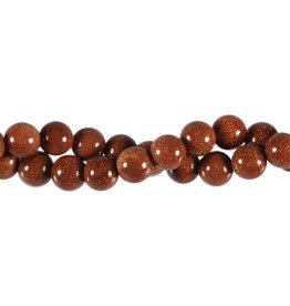 Goudsteen (rood) kralen rond 10 mm (streng van 40 cm)
