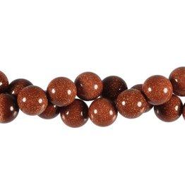 Goudsteen (rood) kralen rond 12 mm (streng van 40 cm)
