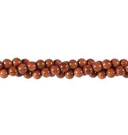 Goudsteen (rood) kralen rond 6 mm (streng van 40 cm)