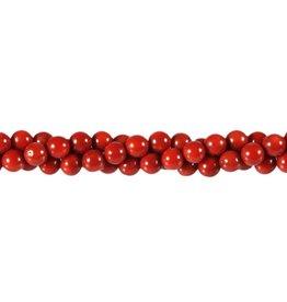 Koraal (rood gekleurd) kralen rond 6 mm (streng van 40 cm)