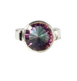 Zilveren ring topaas (mystic) maat 16 1/2 | rond facet 11 mm