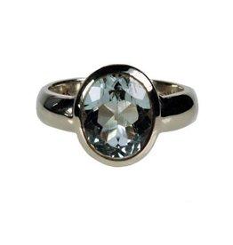 Zilveren ring topaas (blauw) maat 19 | ovaal facet glad