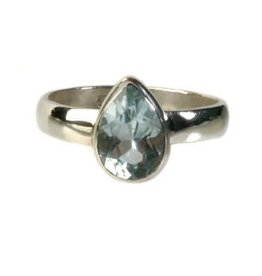 Zilveren ring topaas (blauw) maat 18 1/4 | druppel glad