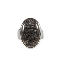 Zilveren ring toermalijnkwarts maat 18 | ovaal 2,2 x 1,5 cm