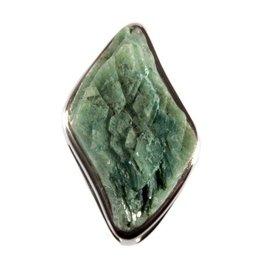 Zilveren hanger heulandiet (groen) 3 x 2 x 1,3 cm