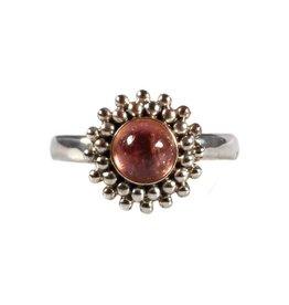 Zilveren ring toermalijn (roze) maat 17 1/4 | rond bolletjes
