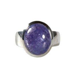 Zilveren ring tanzaniet maat 18 | ovaal 1,4 x 1,2 cm