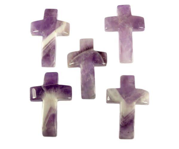 Amethistkwarts hanger kruis doorboord