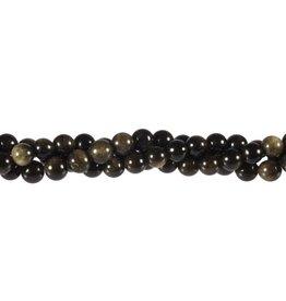 Obsidiaan (goud) kralen rond 6 mm (streng van 40 cm)