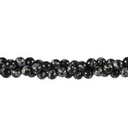 Obsidiaan (sneeuwvlok) kralen rond 6 mm (streng van 40 cm)