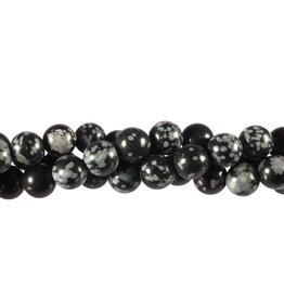 Obsidiaan (sneeuwvlok) kralen rond 8 mm (streng van 40 cm)