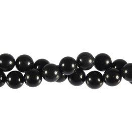 Obsidiaan (zwart) kralen rond 10 mm (streng van 40 cm)