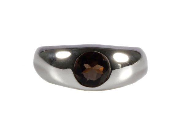 Zilveren ring rookkwarts maat 19 1/4 | rond facet brede rand