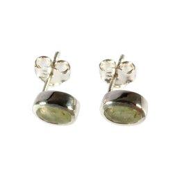 Zilveren oorstekers aventurijn (groen) ovaal facet 7 x 5 mm