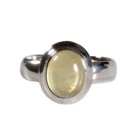 Zilveren ring prehniet maat 18 | ovaal rand 10 x 8 mm