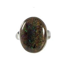 Zilveren ring opaal (zwart) maat 17 1/2   ovaal 2 x 1,4 cm