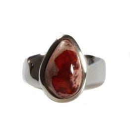 Zilveren ring opaal (vuur) maat 16 3/4 | druppel 1,4 x 0,9 cm
