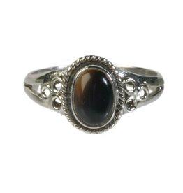 Zilveren ring onyx maat 19 | ovaal cirkels