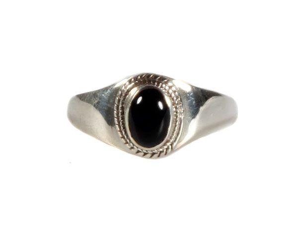 Zilveren Ring Onyx Maat 18 Ovaal Breed