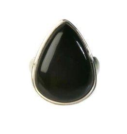 Zilveren ring onyx maat 18 | druppel glad