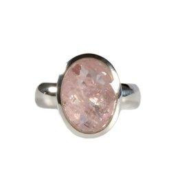 Zilveren ring morganiet maat 19 1/2   ovaal facet 1,6 x 1,1 cm