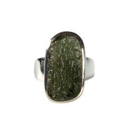 Zilveren ring moldaviet maat 18 3/4   rechthoek 2,2 x 1,2 cm