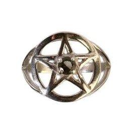 Zilveren ring moldaviet maat 19   pentagram