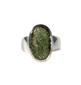 Zilveren ring moldaviet maat 17   ovaal 1,5 x 1 cm